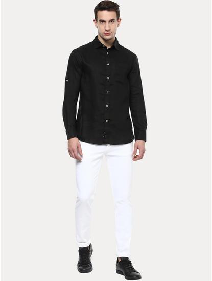 Black 100% Linen Regular Shirt