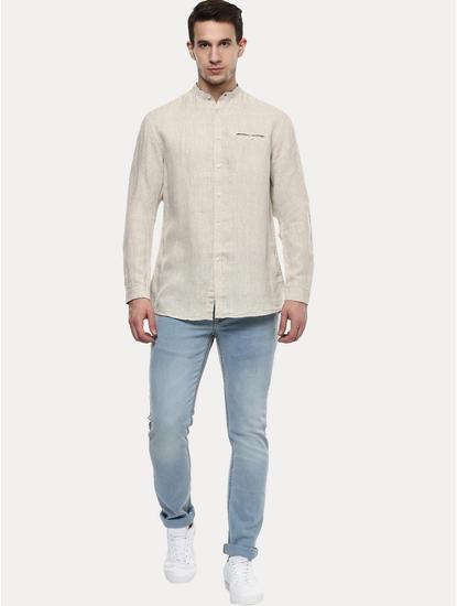 Beige 100% Linen Regular Shirt