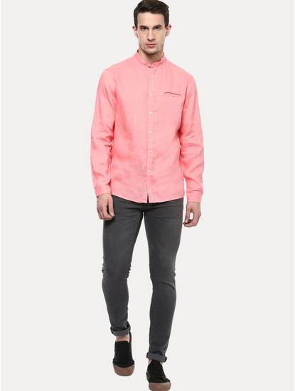 Pink 100% Linen Regular Shirt