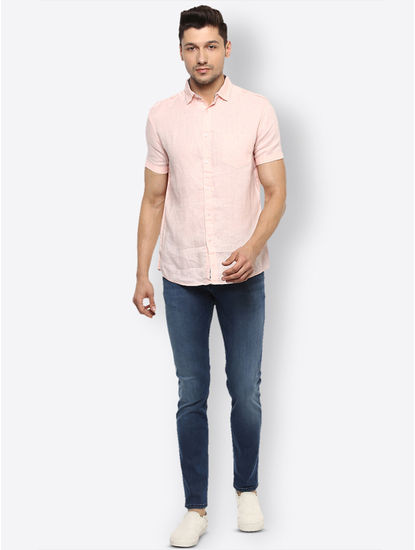 Rose Pink Solid Casual Shirt