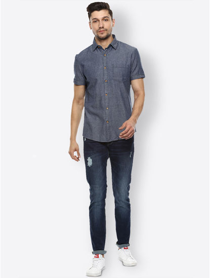 Grey Solid Casual Shirt