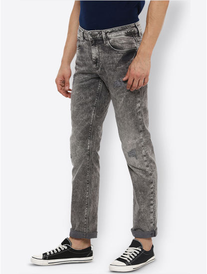 Grey Solid Straight Jeans