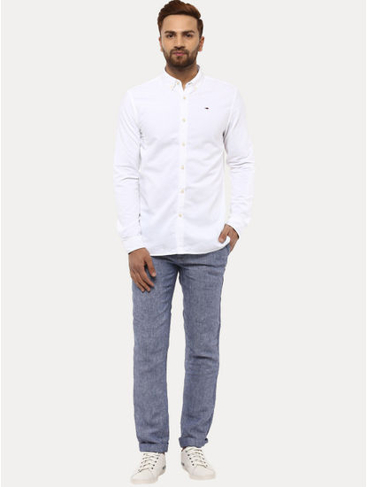 Blue 100% Linen Straight Pants