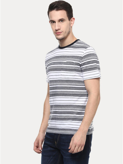 White and Grey Striped T-Shirt