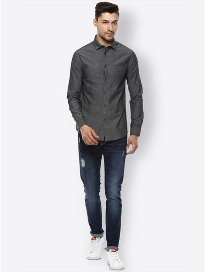 Dark Grey Solid Casual Shirt