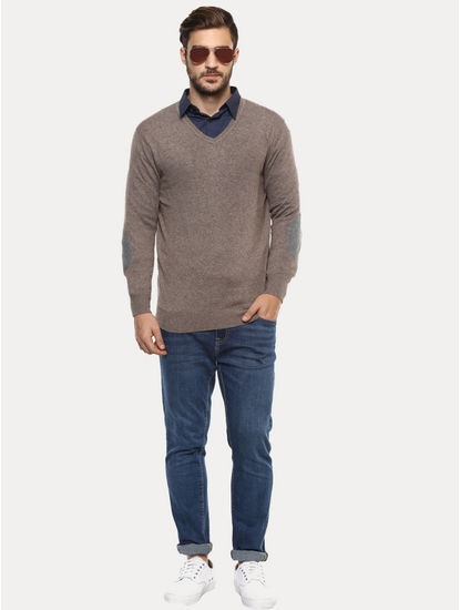 Light Brown Solid Sweater