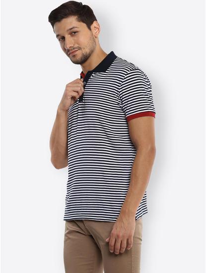 Navy Striped Polo T-Shirt