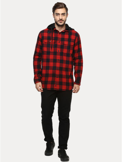 Red Checked Casual Shirt with Hood