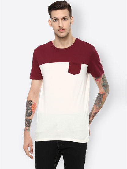White Colourblock T-Shirt