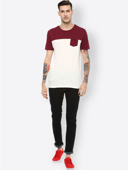 White Colourblock T-Shirt