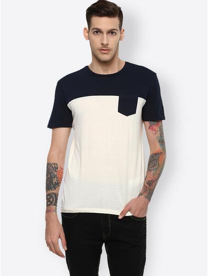 Navy and White Colourblock T-Shirt