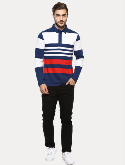 White and Blue Striped Polo T-Shirt