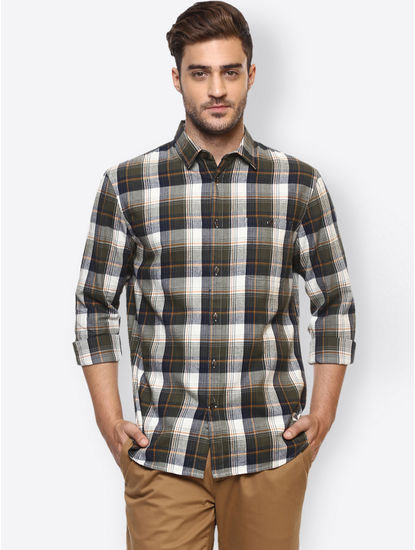 Khaki Green Checked Casual Shirt