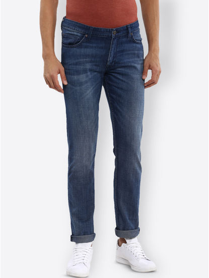 Soft Touch Blue Solid Straight Jeans