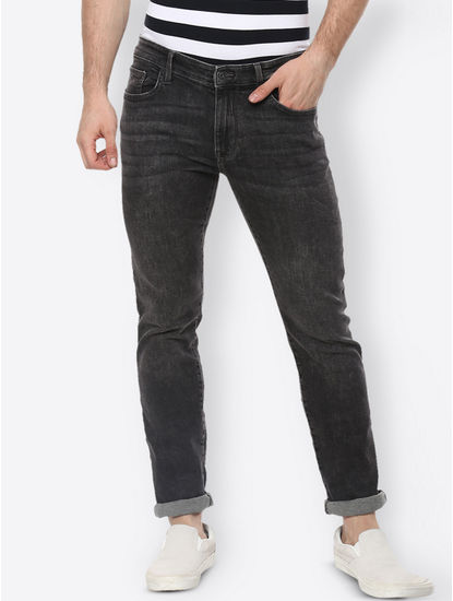 Dark Grey Solid Straight Jeans