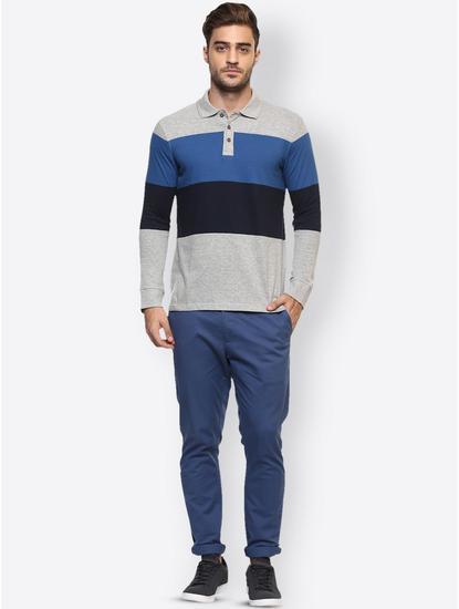 Grey Striped Polo T-Shirt