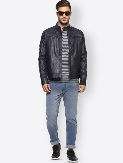 Navy Solid Leather Jacket