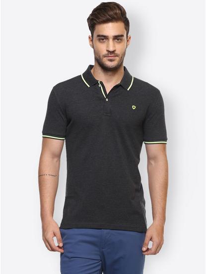 Black Melange Polo T-Shirt