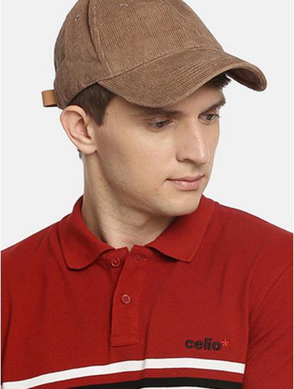Beige Solid Baseball Cap