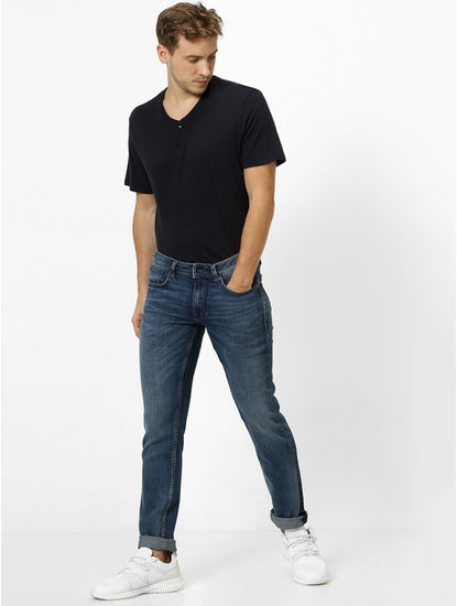 Soft Touch Indigo Solid Slim Fit Jeans