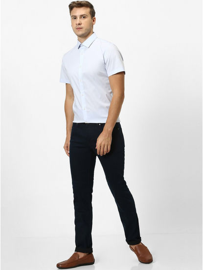 Stay Dark Navy Solid Slim Fit Jeans
