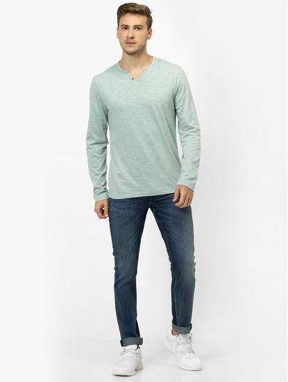 Sea Green Melange Regular Fit T-Shirt
