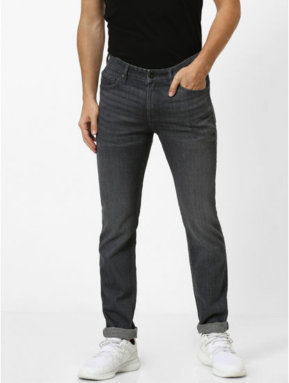Soft Touch Grey Solid Slim Fit Jeans