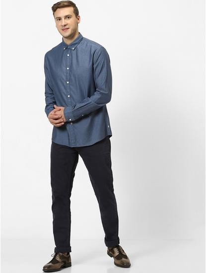 Indigo Solid Slim Fit Casual Shirt