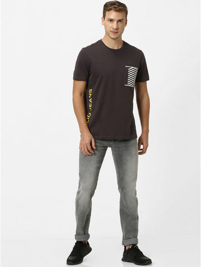 Brown Printed Regular Fit T-Shirt