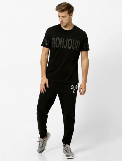 Black Printed Regular Fit T-Shirt