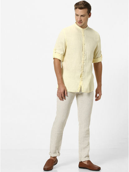 Yellow Solid Regular Fit Casual Shirt