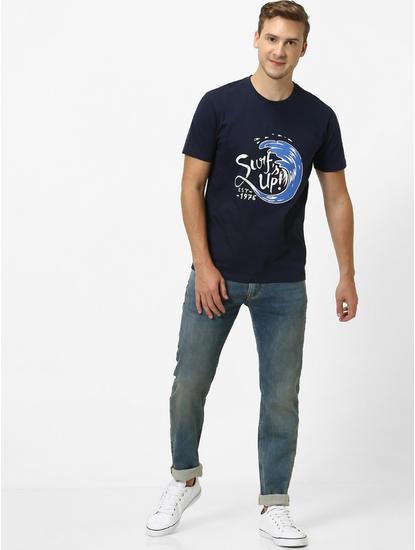 Dark Blue Solid Slim Fit Jeans