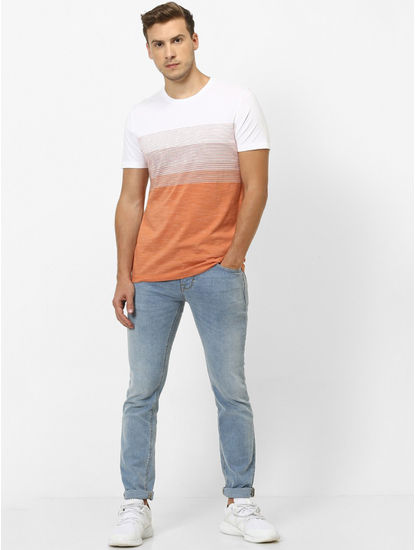 Orange Striped Straight Fit T-Shirt