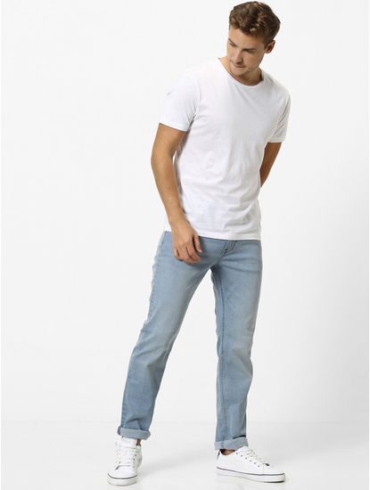 Light Blue Solid Straight Slim Fit Jeans