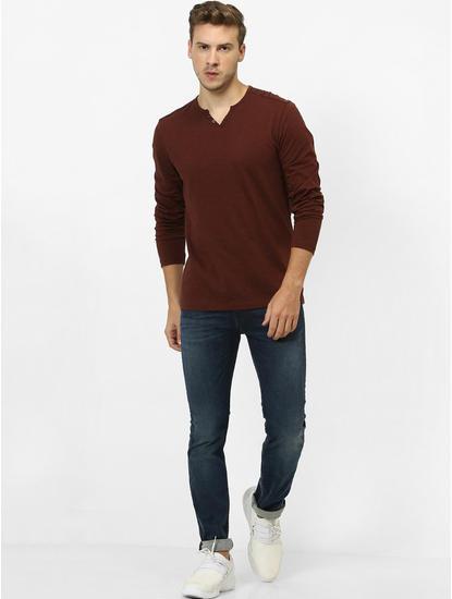 Maroon Melange Regular Fit T-Shirt