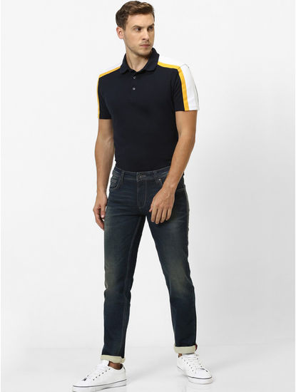 Indigo Solid Slim Fit Jeans