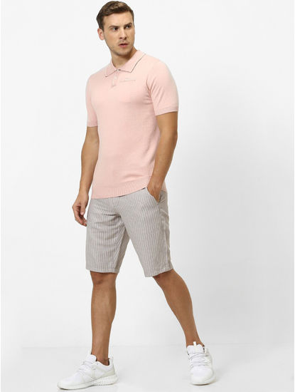 Pink Solid Straight Fit Polo T-Shirt