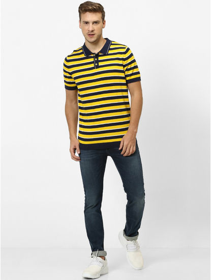 Yellow Striped Straight Fit Polo T-Shirt
