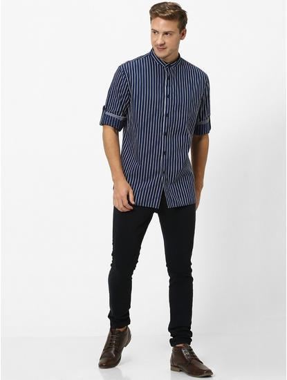 Indigo Striped Regular Fit Casual Shirt