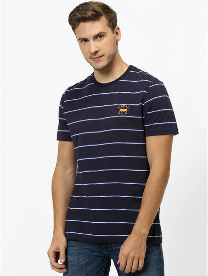 Blue Striped Regular Fit T-Shirt