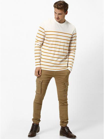 Beige Striped Regular Fit T-Shirt