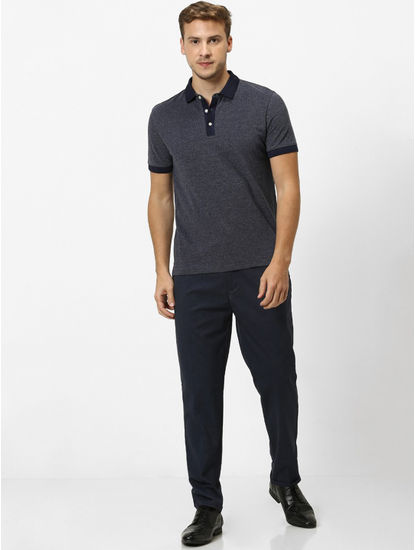 Navy Melange Regular Fit Polo T-Shirt