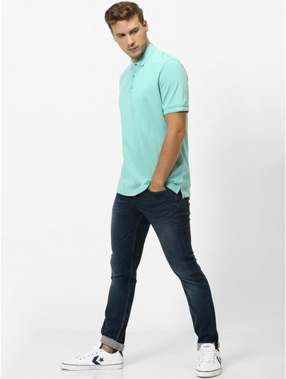 Turquoise Solid Regular Fit Polo T-Shirt