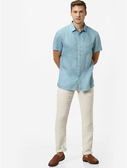 100% Linen Turquoise Shirt