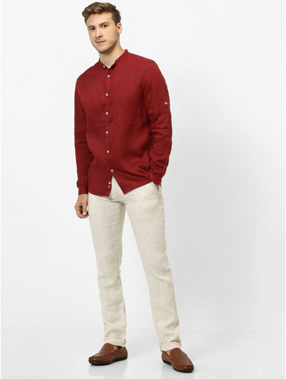 Maroon Solid Casual Shirt