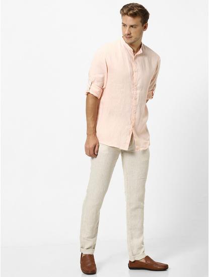 100% Linen Mao Collar Peach Shirt