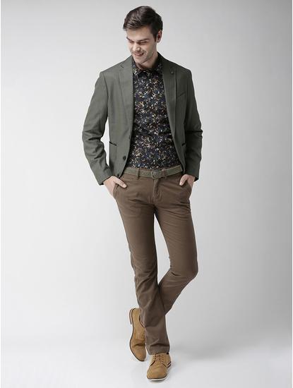 Khaki Solid Slim Fit Blazer