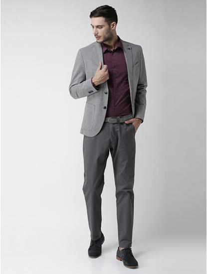 Blue Checked Slim Fit Blazer