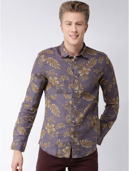 Purple Floral Slim Fit Casual Shirt
