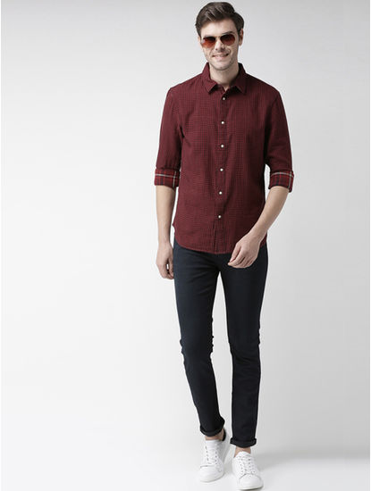 Red Checked Regular Fit Casual Shirt